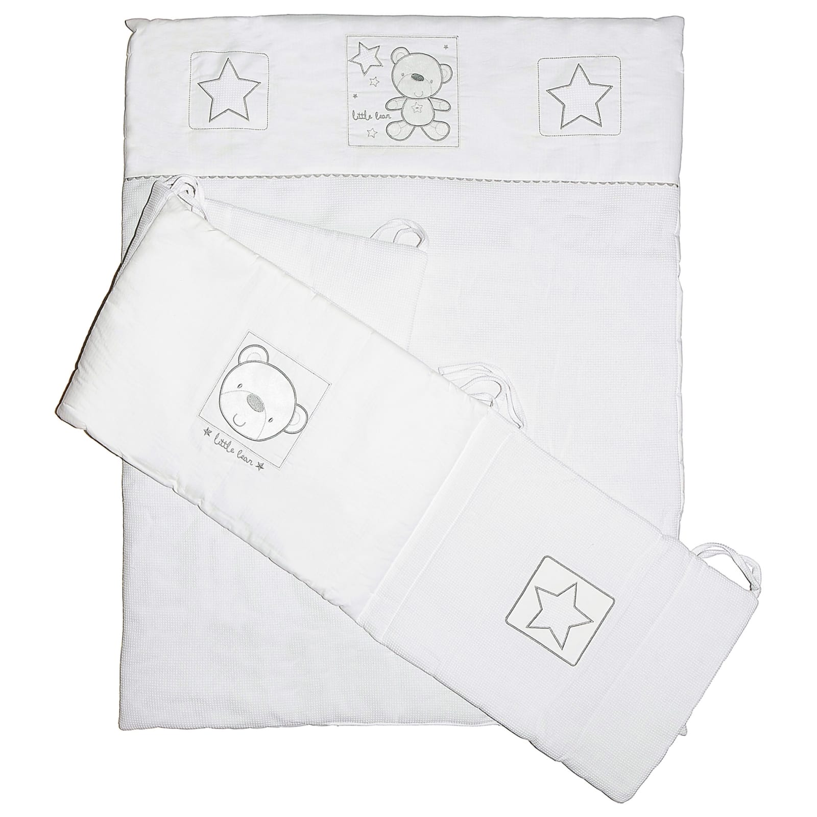 Star Ted Cot Quilt &Bumper Set – White product image