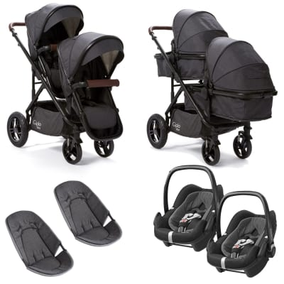 Cupla Duo Twin Travel System with Maxi Cosi - Charcoal