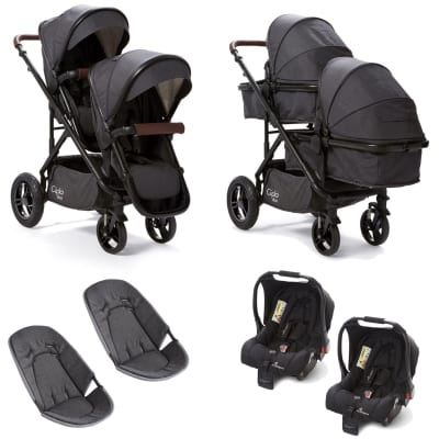 Cupla Duo Twin Travel System - Charcoal