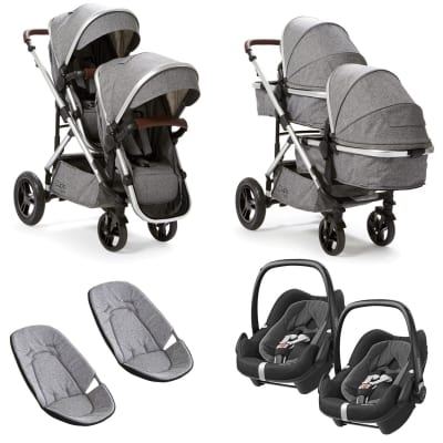 Cupla Duo Twin Travel System with Maxi Cosi - Grey