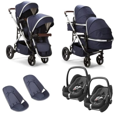 Cupla Duo Twin Travel System with Maxi Cosi - Navy