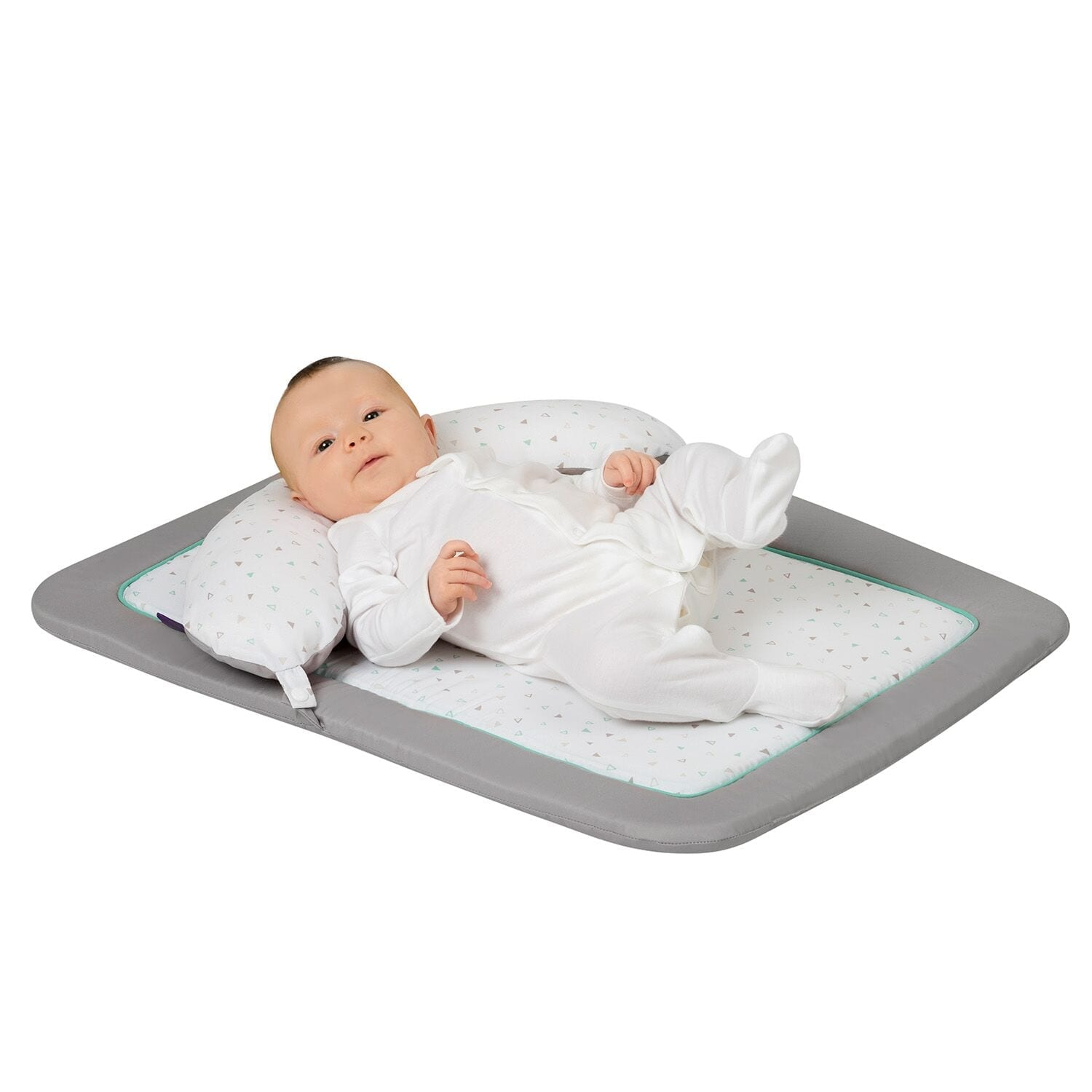 New Born Tummy Time Mat Soft Grey/Mint product image